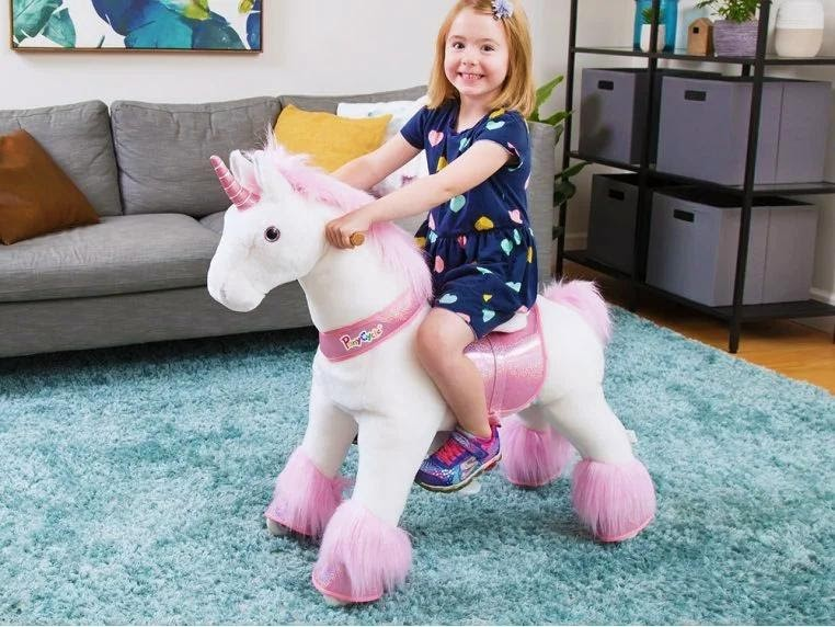 This perfect gift for kids-PonyCycle ride on horse /unicron toy  can play on carpet. Not only unique out door ride on toy but also a perfect indoor rideable toy.