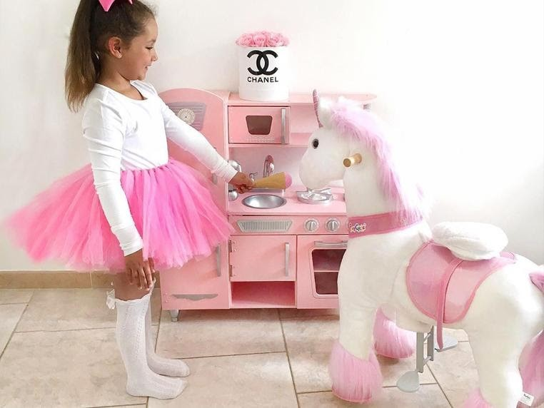Kids like play pretend game, they can feed the pony, the unicorn, as well as dress up the  pony toy.