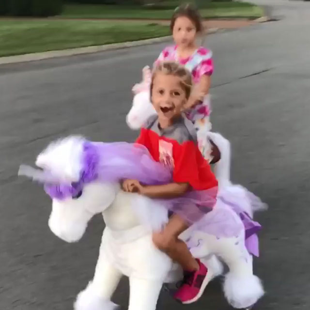 U unicorn or K unicorn ride on toy