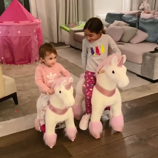 Family unicorn horse racing