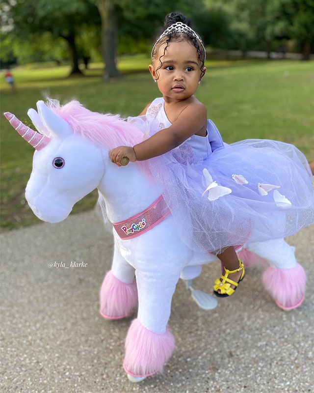 Princess on her unicorn toy